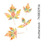 silhouettes of leaves of maple... | Shutterstock . vector #743832916
