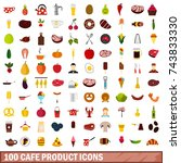 100 cafe product icons set in... | Shutterstock . vector #743833330