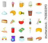 coffee palace icons set.... | Shutterstock . vector #743833393