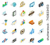 call icons set. isometric set... | Shutterstock . vector #743833453