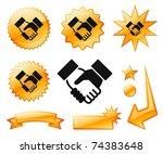 handshake icon on orange burst...   Shutterstock .eps vector #74383648