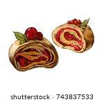 sweet cherry strudel.... | Shutterstock . vector #743837533