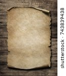 old paper poster on wood... | Shutterstock . vector #743839438