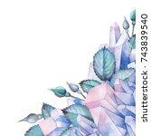 cute watercolor corner design... | Shutterstock . vector #743839540