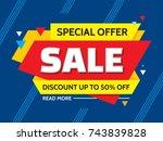 sale   concept banner vector... | Shutterstock .eps vector #743839828