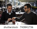 business people having a coffee ... | Shutterstock . vector #743841736
