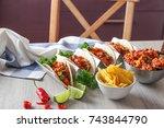delicious tacos with chili con...   Shutterstock . vector #743844790