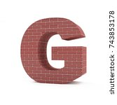 red brick alphabet isolated on... | Shutterstock . vector #743853178