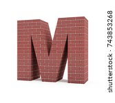 red brick alphabet isolated on... | Shutterstock . vector #743853268