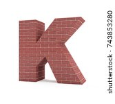 red brick alphabet isolated on... | Shutterstock . vector #743853280
