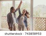 beautiful happy couple is... | Shutterstock . vector #743858953