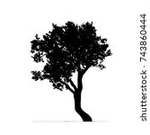 vector silhouette of tree on... | Shutterstock .eps vector #743860444