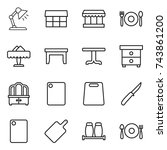 thin line icon set   table lamp ... | Shutterstock .eps vector #743861200