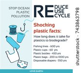 stop plastic pollution reduce ... | Shutterstock .eps vector #743863798