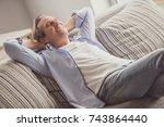 handsome mature man in casual... | Shutterstock . vector #743864440