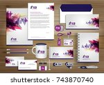 vector abstract stationery... | Shutterstock .eps vector #743870740