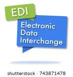 edi initals in two colored... | Shutterstock . vector #743871478