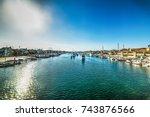 sun shining over balboa island... | Shutterstock . vector #743876566