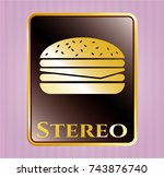 gold shiny badge with...   Shutterstock .eps vector #743876740