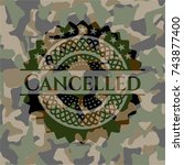 cancelled on camo pattern | Shutterstock .eps vector #743877400