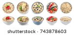 bowls of oatmeal with berries... | Shutterstock . vector #743878603