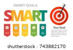 smart goals setting diagram... | Shutterstock .eps vector #743882170