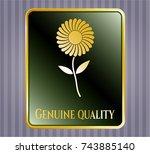 golden emblem or badge with... | Shutterstock .eps vector #743885140