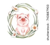 pig and floral wreath....   Shutterstock . vector #743887903