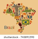 map from traditional symbols of ... | Shutterstock .eps vector #743891590