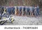 professianal firework  set up... | Shutterstock . vector #743893684
