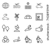 thin line icon set   globe  bio ... | Shutterstock .eps vector #743895949