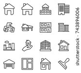 thin line icon set   home ... | Shutterstock .eps vector #743896006