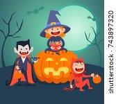 kids halloween vector set  | Shutterstock .eps vector #743897320