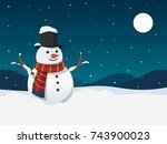 snowman and snowfall with... | Shutterstock .eps vector #743900023