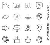 thin line icon set   crisis ... | Shutterstock .eps vector #743901784