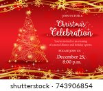christmas party invitation with ...   Shutterstock .eps vector #743906854