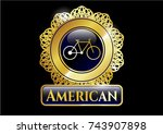 Golden Badge With Bike Icon...