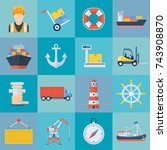 ship port icon set. harbor for... | Shutterstock .eps vector #743908870