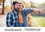 couple in love. romantic couple ... | Shutterstock . vector #743909140