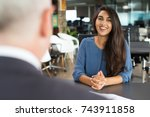 young female candidate laughing ... | Shutterstock . vector #743911858