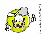 cute tennis ball hand and hat | Shutterstock . vector #743916319
