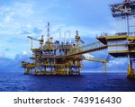 offshore construction platform... | Shutterstock . vector #743916430