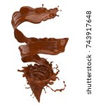 chocolate splash and spinning... | Shutterstock . vector #743917648