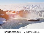 godafoss waterfall in winter... | Shutterstock . vector #743918818