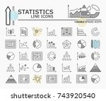 statistics line icons with... | Shutterstock .eps vector #743920540