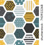 colorful seamless patterns with ... | Shutterstock . vector #743922268