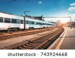 beautiful passenger train at... | Shutterstock . vector #743924668