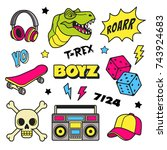 boys patches collection. vector ... | Shutterstock .eps vector #743924683