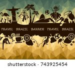 banner with traditional symbols ... | Shutterstock .eps vector #743925454
