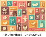 icons of products for babies.... | Shutterstock .eps vector #743932426